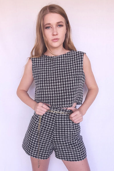 Houndstooth Boxy Crop