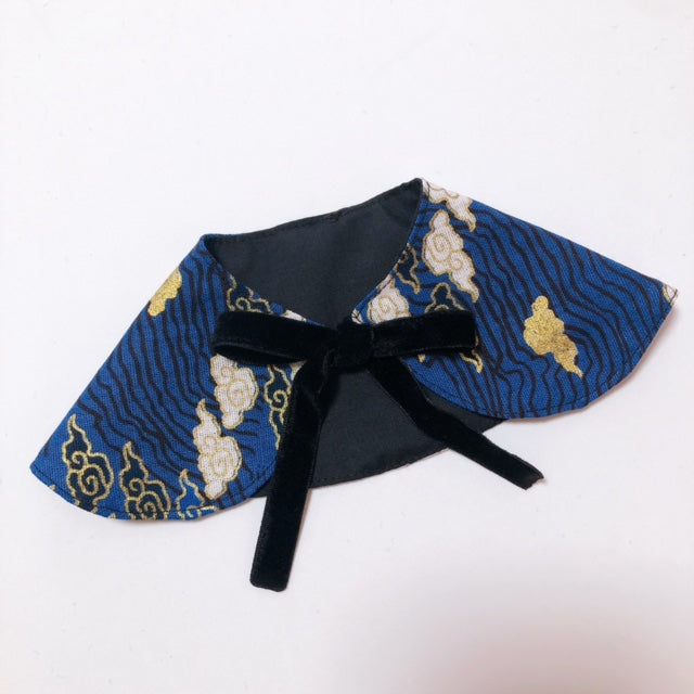 Oriental Sky Girl Cape Collar Dark Blue