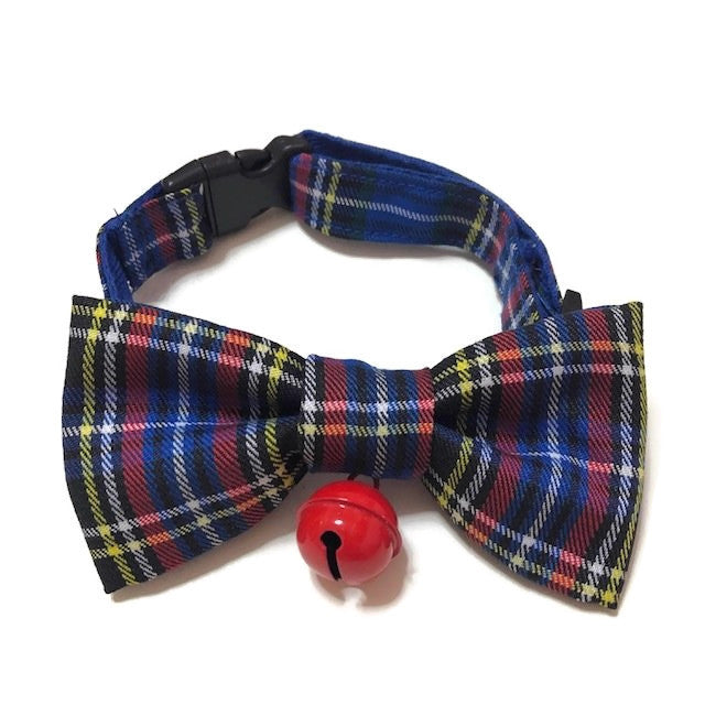 Blue Checks Bowtie With Bell