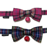 Hot Pink Checks Bowtie With Bell