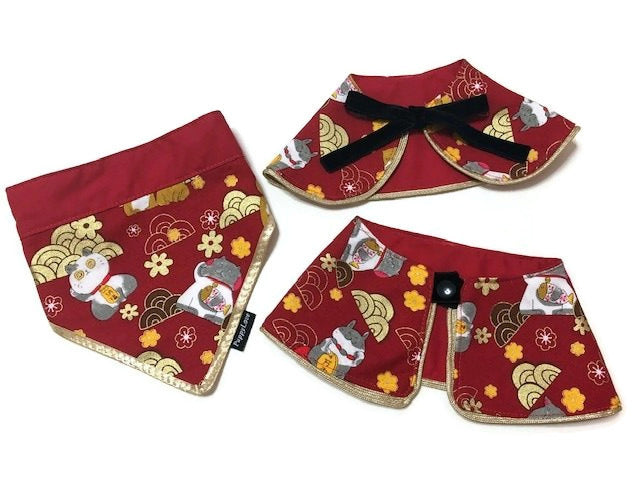 Fortune Cat Gold Wave Boy Cape Collar