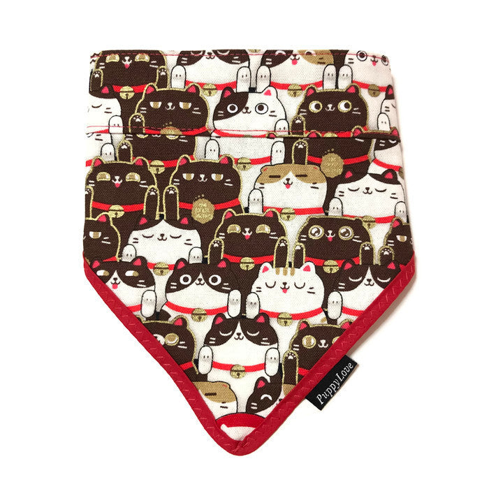 Fortune Cat Brown Bandana