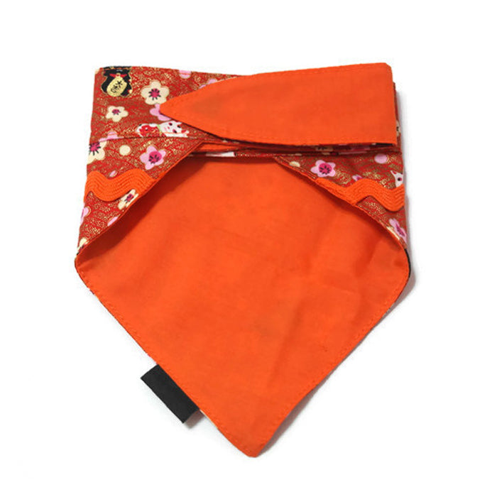 Sakura Fortune Cat Bandana Red Reversible