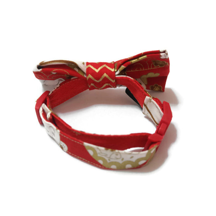 Fortune Cat Bowtie Red Gold