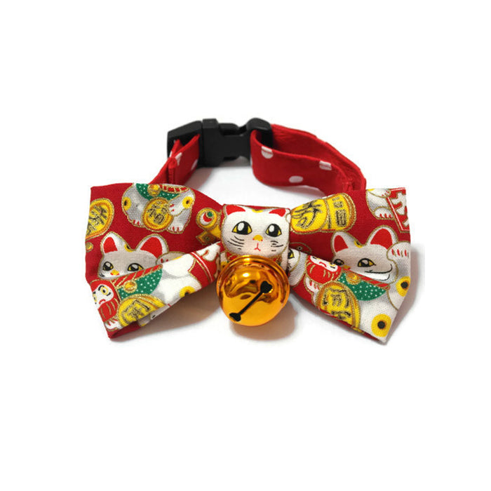Fortune Cat Bowtie Red