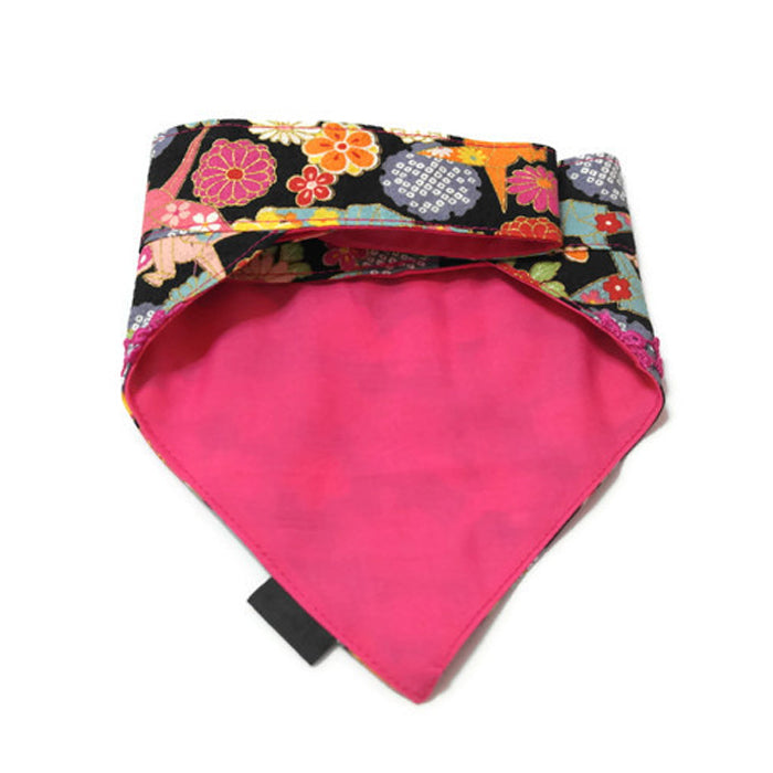 Japanese Crane Bandana Black Reversible