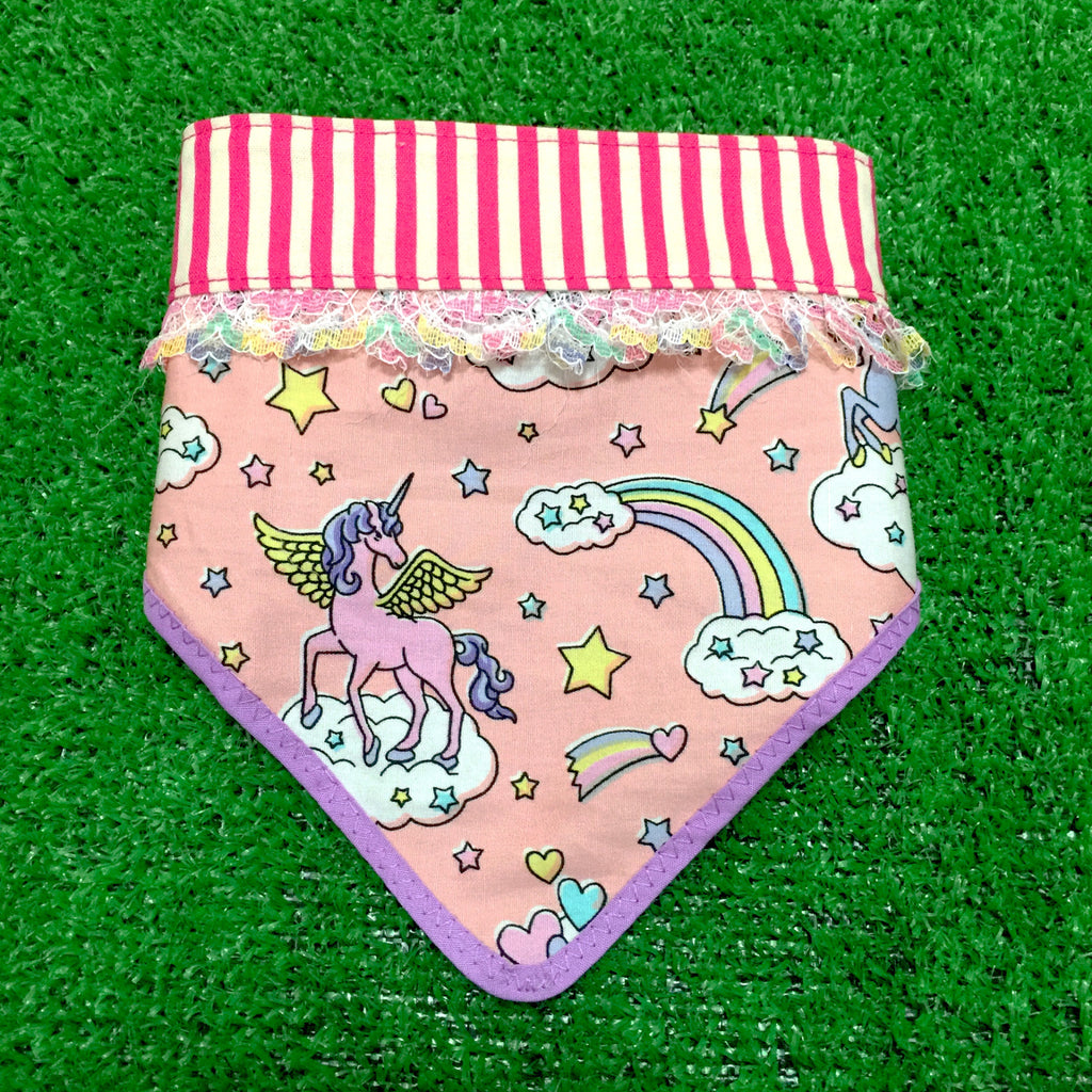Unicorn Dreams Bandana Peach & Stripes