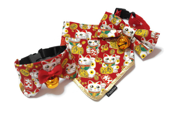 Fortune Cat Bandana Red