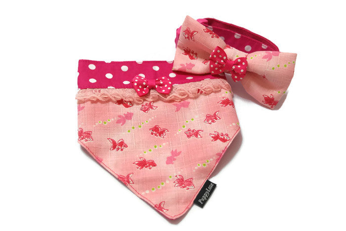 Lucky Goldfish Bandana Peach Reversible