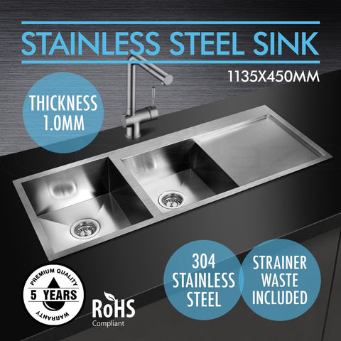 Double Square Side Kitchen Sink