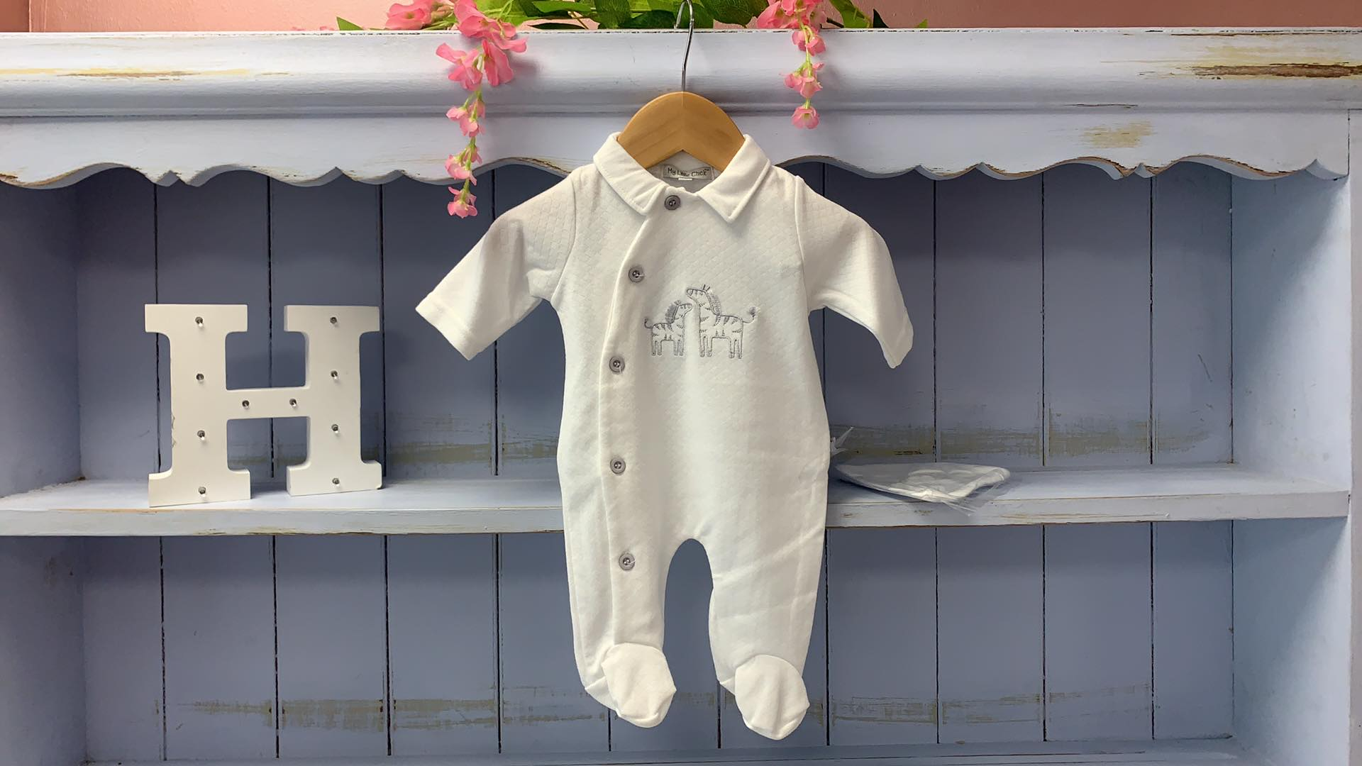Unisex Embroidered Zebra All in one with Hat - Hetty's Baby Boutique
