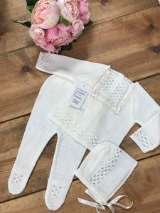Luxury Spanish Knitted Cream 3 Piece Set with Crochet Detailing - Hetty's Baby Boutique