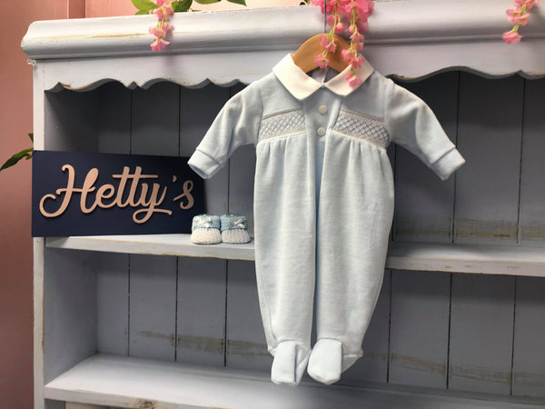 Velour Blue Button Smock All In One - Hetty's Baby Boutique