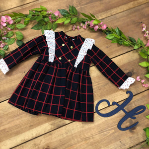 Navy & Red Checked Dress with gold buttons - Hetty's Baby Boutique