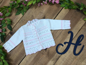 Carey Ivory and Pink Cardigan - Hetty's Baby Boutique