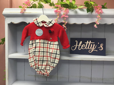 """Ollie"" Juliana Spanish Red Check Pom Romper - Hetty's Baby Boutique"