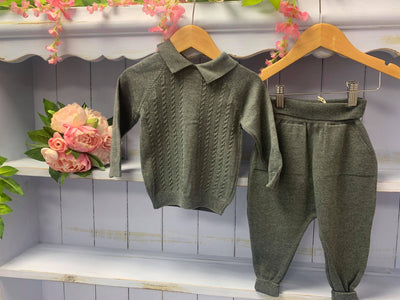 Henley Caramelo Luxury Charcoal Grey Knitted 2 Piece Set - Hetty's Baby Boutique