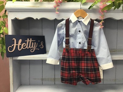"12M & 18M ""Elias"" Blue and red check braces set - Hetty's Baby Boutique"