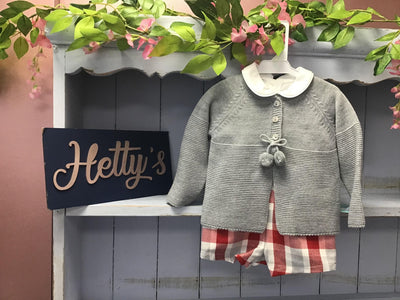 """Harry"" Three piece red check set with pom cardigan - Hetty's Baby Boutique"