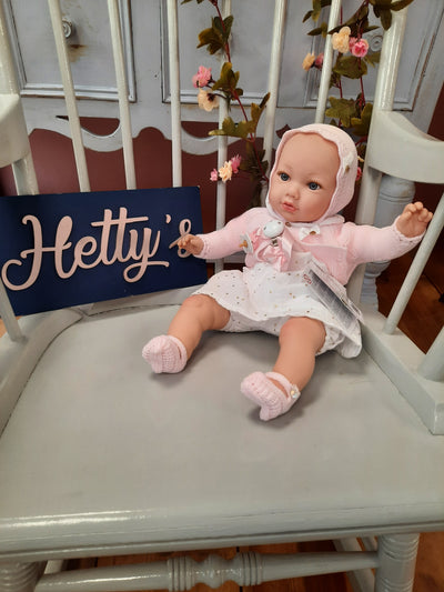 'Marina's Doll with gold dot dress bonnet and cardigan - Hetty's Baby Boutique
