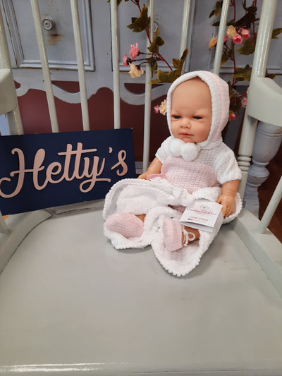 'Marina's doll white knitted romper and blanket - Hetty's Baby Boutique