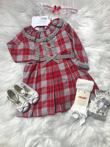 Red & Grey Tartan Dress Bigger Girl - Hetty's Baby Boutique
