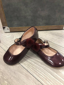 Burgundy Side Pom Shoes - Hetty's Baby Boutique