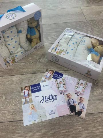 Peter Rabbit Gift Set - 3 Pack of Muslin & Soft Toy Rattle - Hetty's Baby Boutique