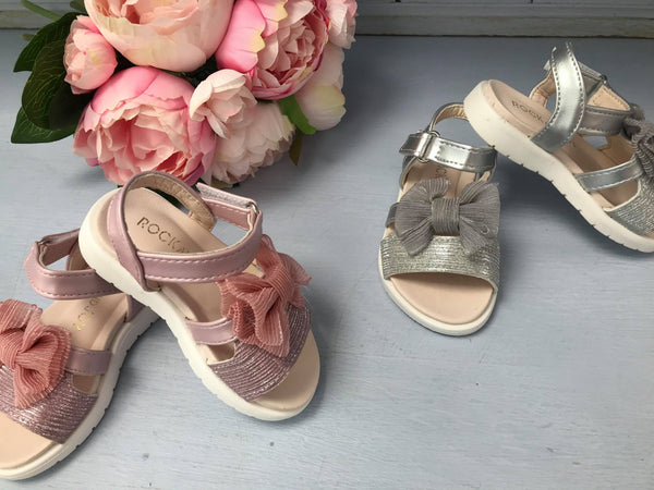 Billie Silver Sparkly Bow Sandals