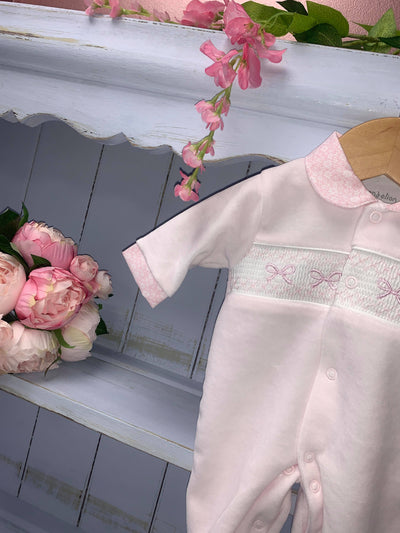 Dolly Bow Smock All in one - Hetty's Baby Boutique
