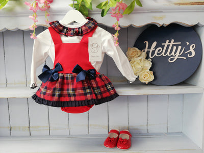 """Lara"" Red & Navy Check Tartan Pinafore Set with Blouse - Hetty's Baby Boutique"