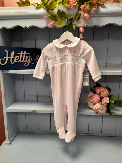 Pink Velour Smock Flower All In One - Hetty's Baby Boutique