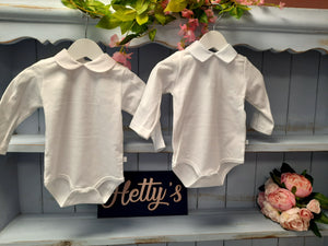White vest fleck collar long sleeve - Hetty's Baby Boutique