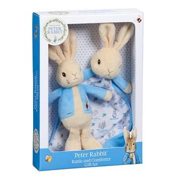 Peter Rabbit Gift Set - Ribbon Tag Comforter and Soft Toy Rattle - Hetty's Baby Boutique
