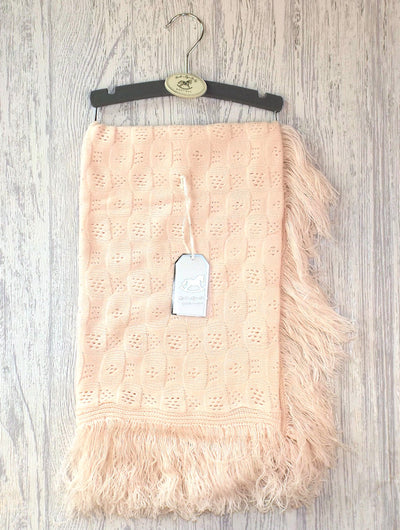 Pink Fringed Shawl - Hetty's Baby Boutique