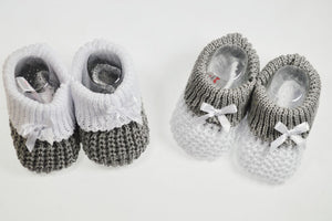 White & Grey Knitted Booties - Hetty's Baby Boutique