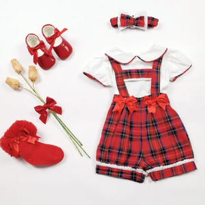 Boutique T-Bar Tartan Bloomer Set with Blouse & Headband - Hetty's Baby Boutique