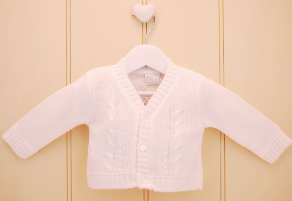 White Knitted Cardigan - Hetty's Baby Boutique