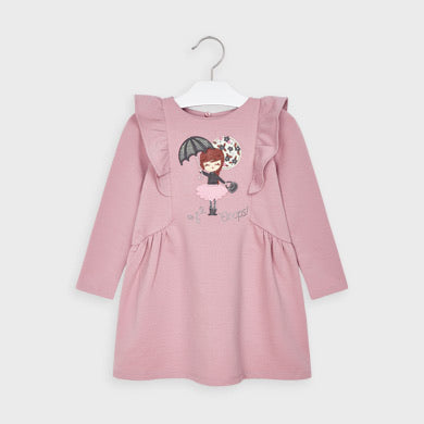 """Gabby"" Mayoral Blush Fleece Dress - Hetty's Baby Boutique"