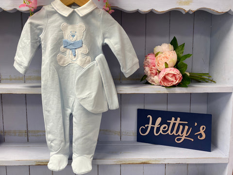 Teddy Scarf Blue Outfit with Hat - Hetty's Baby Boutique