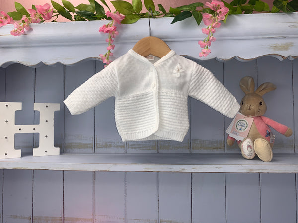 """Gabby"" White Flower Pearl Cardigan - Hetty's Baby Boutique"