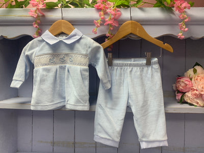 Rocking Horse Two Piece Blue Velour Set - Hetty's Baby Boutique