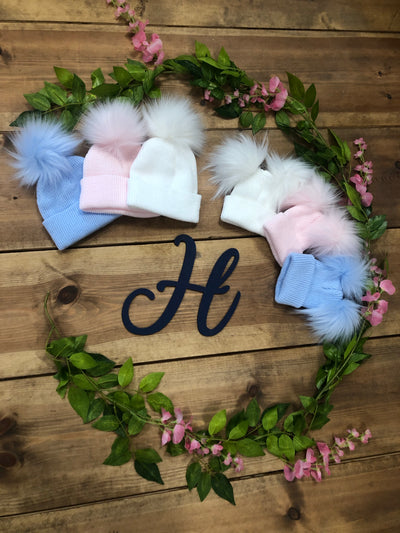 Ralphy Double Baby Pom Hats - various colours - Hetty's Baby Boutique