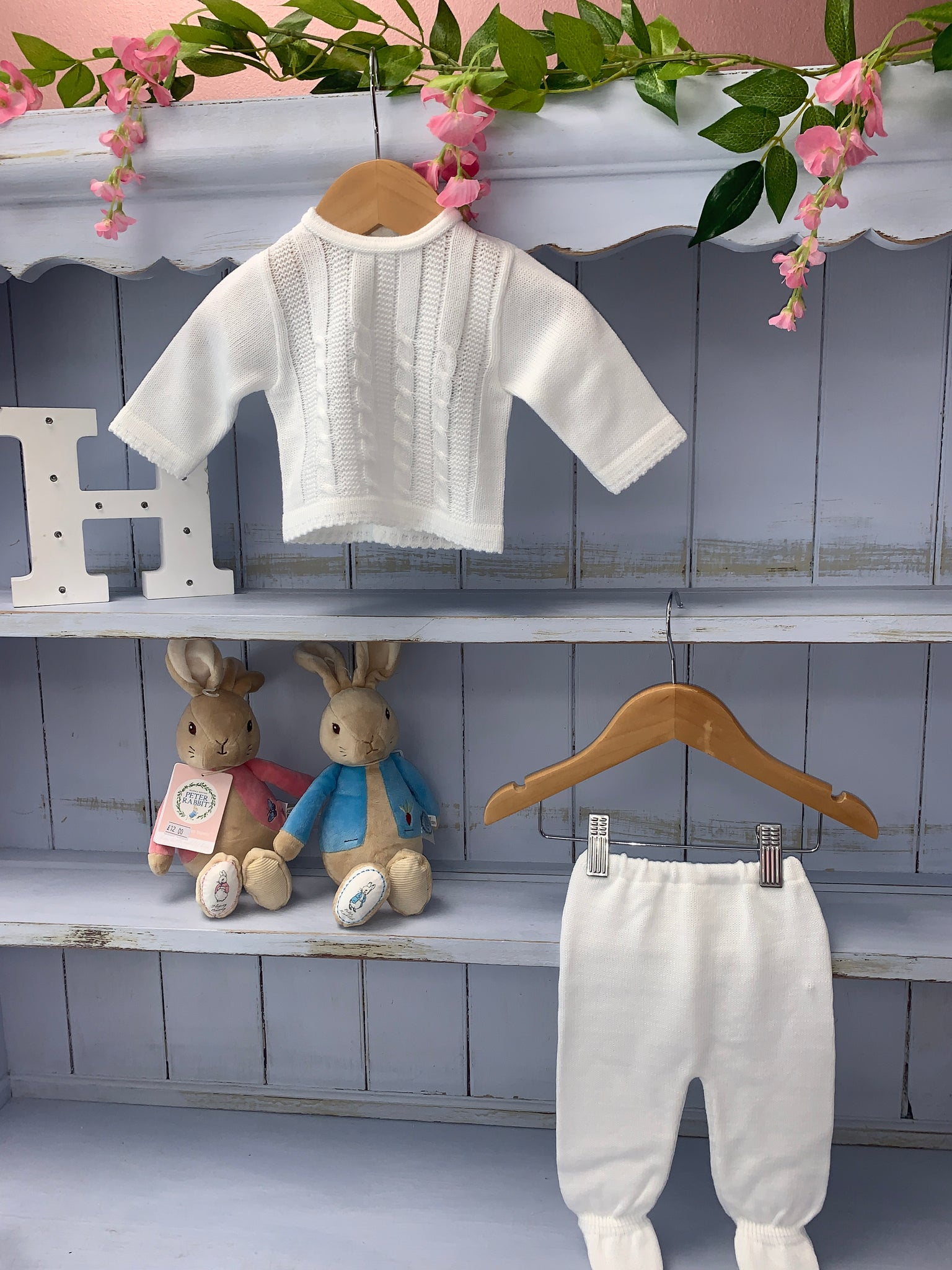 Unisex White Knitted Cable Knit Trouser set - Hetty's Baby Boutique