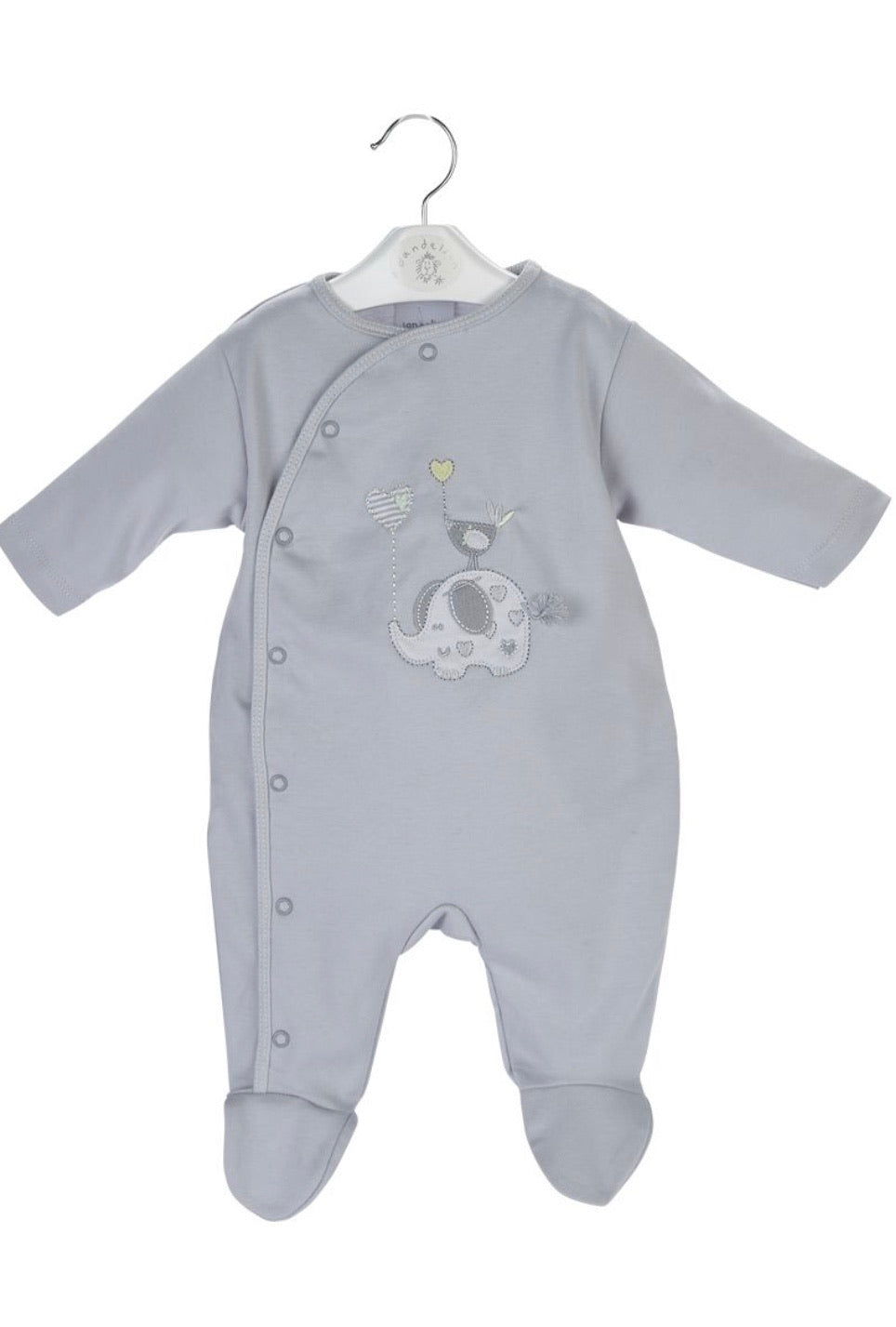 Unisex Grey Elephant Romper - Hetty's Baby Boutique