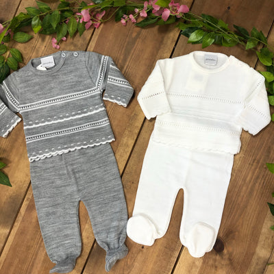 """Marlow"" Grey and Ivory Knitted 2 Piece Stripe Sets - Hetty's Baby Boutique"