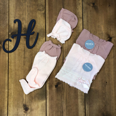 """Freya"" Juliana Pink and Rose Pink Knitted 3 Piece Set - Hetty's Baby Boutique"