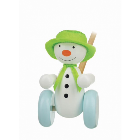 Wooden Snow Man and the Dog Push Along - Hetty's Baby Boutique