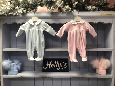 Blue and Pink Velour Smock All in One - Hetty's Baby Boutique