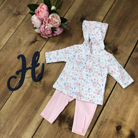 Pink Floral Legging 2 Piece with Hood - Hetty's Baby Boutique
